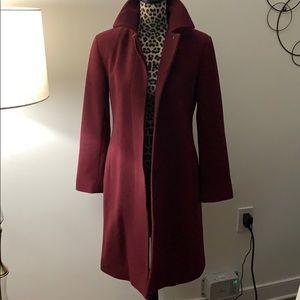 DKNY burgundy red long coat